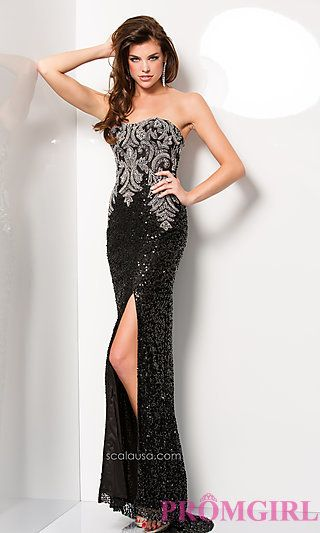 Strapless Sequin Floor Length Scala Dress at PromGirl.com**in black/silver, hyacinth or red
