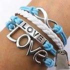 Vintage Silver Infinity Bracelet Love Sky Blue Rope White Leather Handmade Knit
