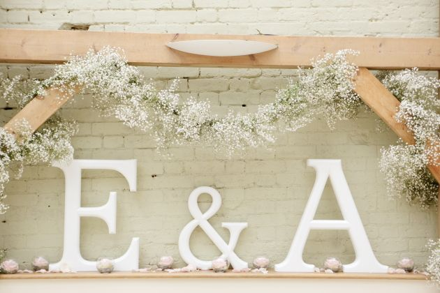 Romantic Grey . gyp garland maybe add in gold lettering
