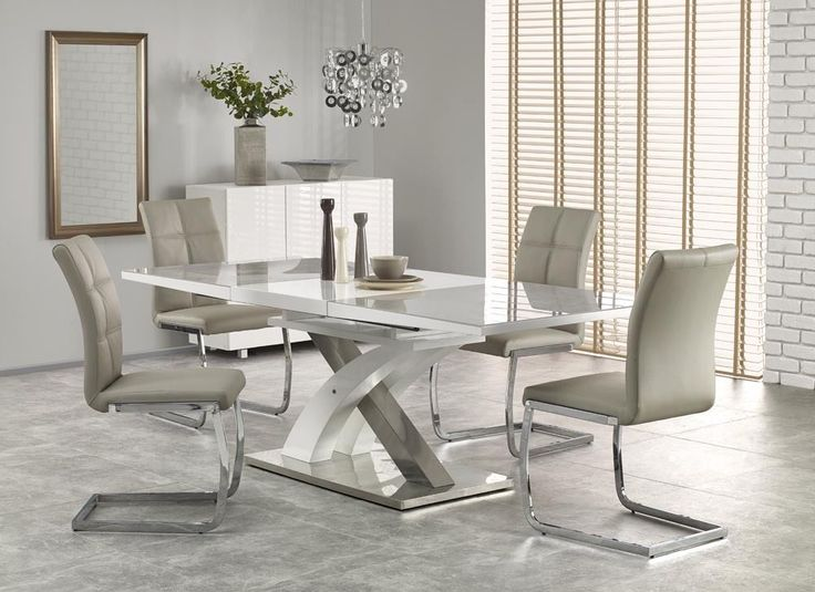 RAUL II 160 cm Grey Glass & White High Gloss MDF Modern Extendable Dining Table in Home, Furniture & DIY, Furniture, Tables | eBay!