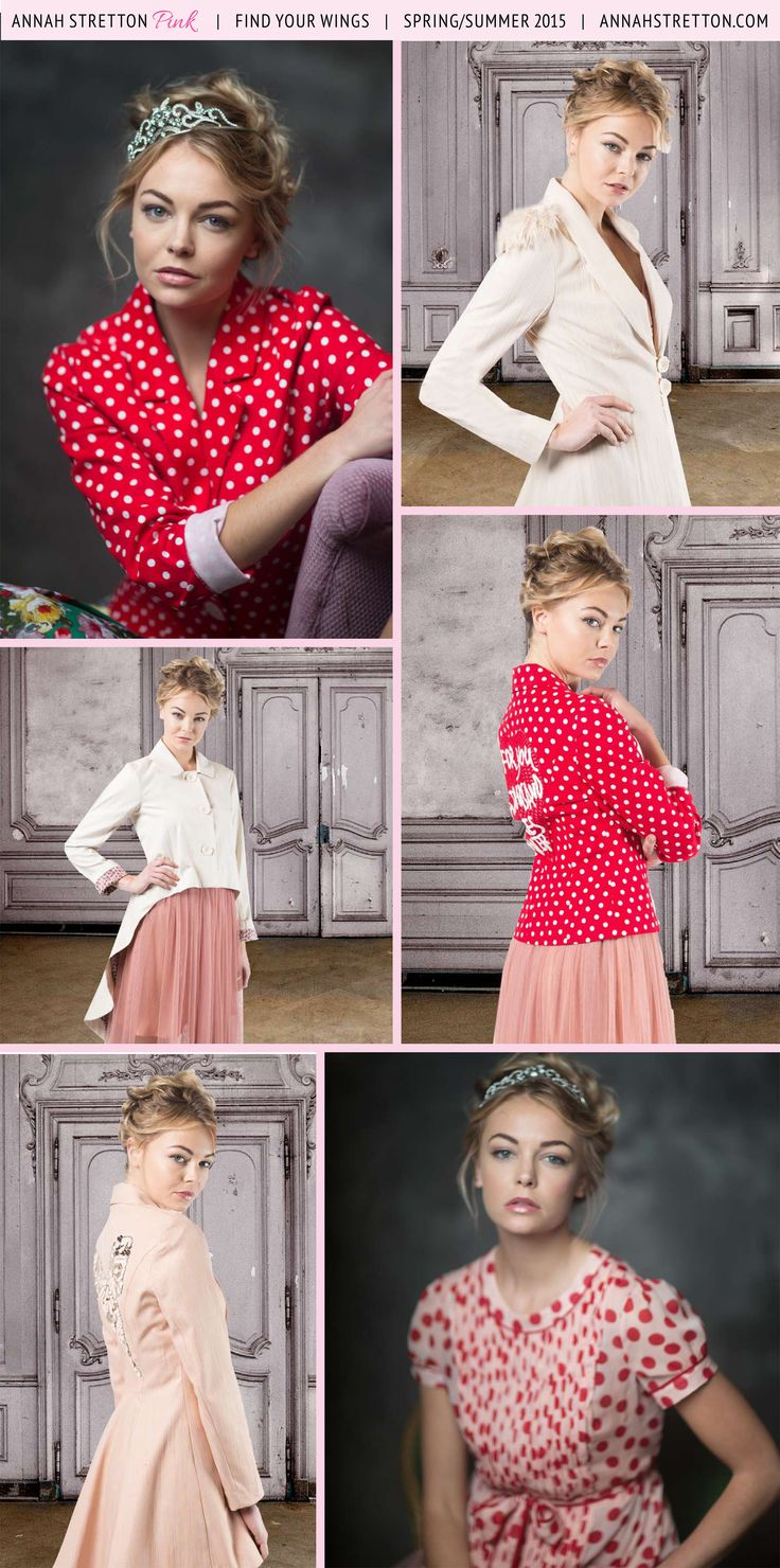 Pretty pink jackets with polka dots for summer occasions. Annah Stretton Designer Fashion pink blouses for day wear.