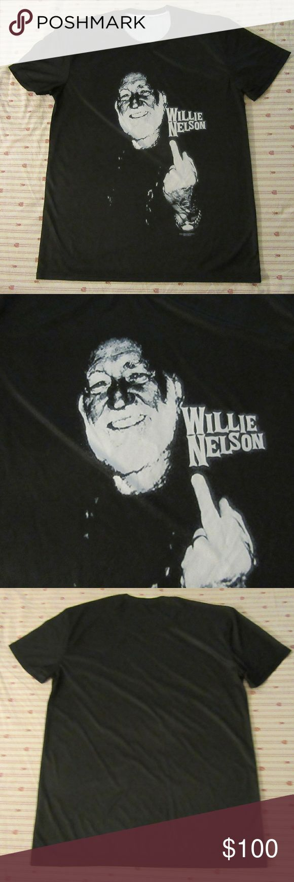 rare collectors willie nelsons shooting bird xl excellent shape  rare collectors willie nelsons shooting bird wicking t shirt XL  shoulder to shoulder 19.5  top to bottom 30  pit to pit 22 Shirts