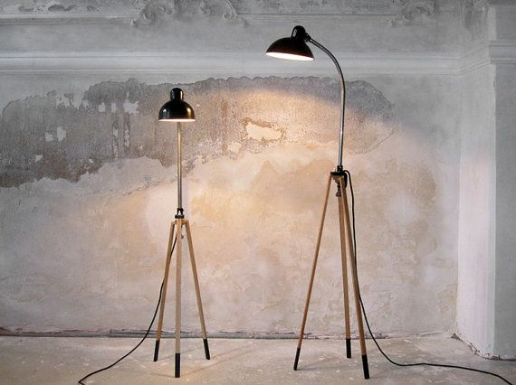 Tripod lamp stand oak black without clip lamp for Oak floor lamp stand