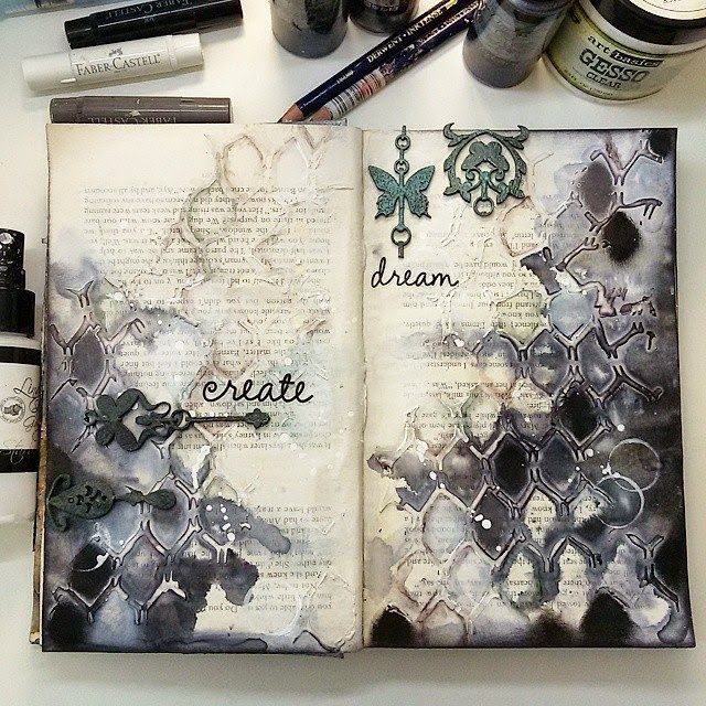 Art journal inspiration -  http://artistycrafty.blogspot.ie/2015/04/kawa-i-nozyczki-march-challenge-few.html