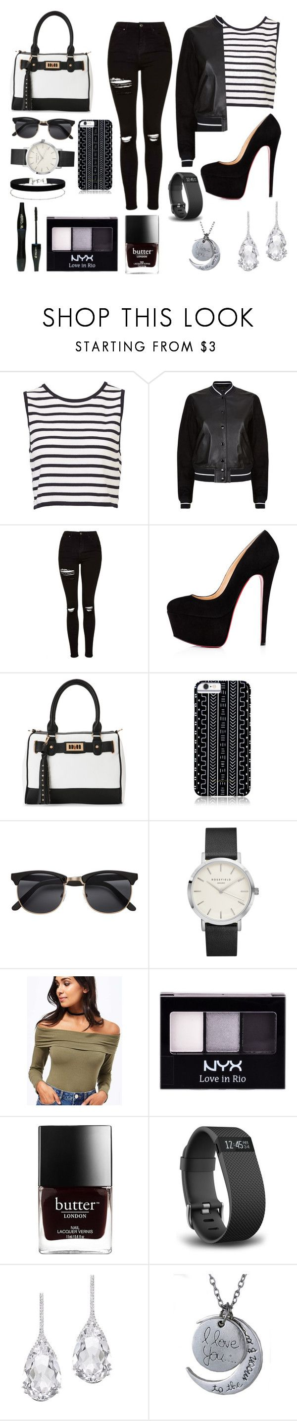 """""""Black and white:)"""" by lucyvha ❤ liked on Polyvore featuring rag & bone, Topshop, Christian Louboutin, IMoshion, Savannah Hayes, H&M, Miss Selfridge, Lancôme, NYX and Fitbit"""