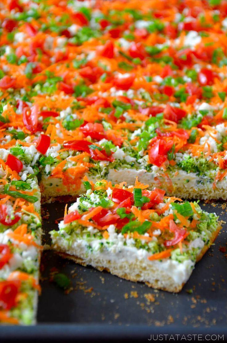 Crescent Roll Veggie Bars recipe http://justataste.com #healthy #appetizer
