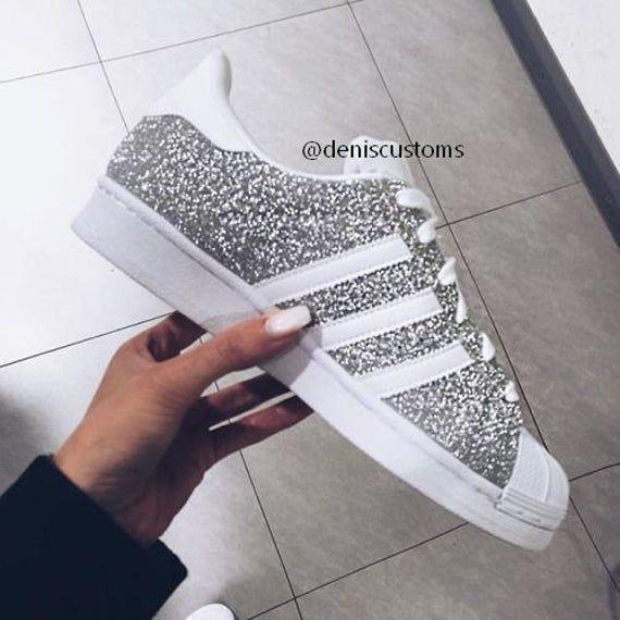 Maat Adidas Superstar met zilver Glitter-ontwerp De ...