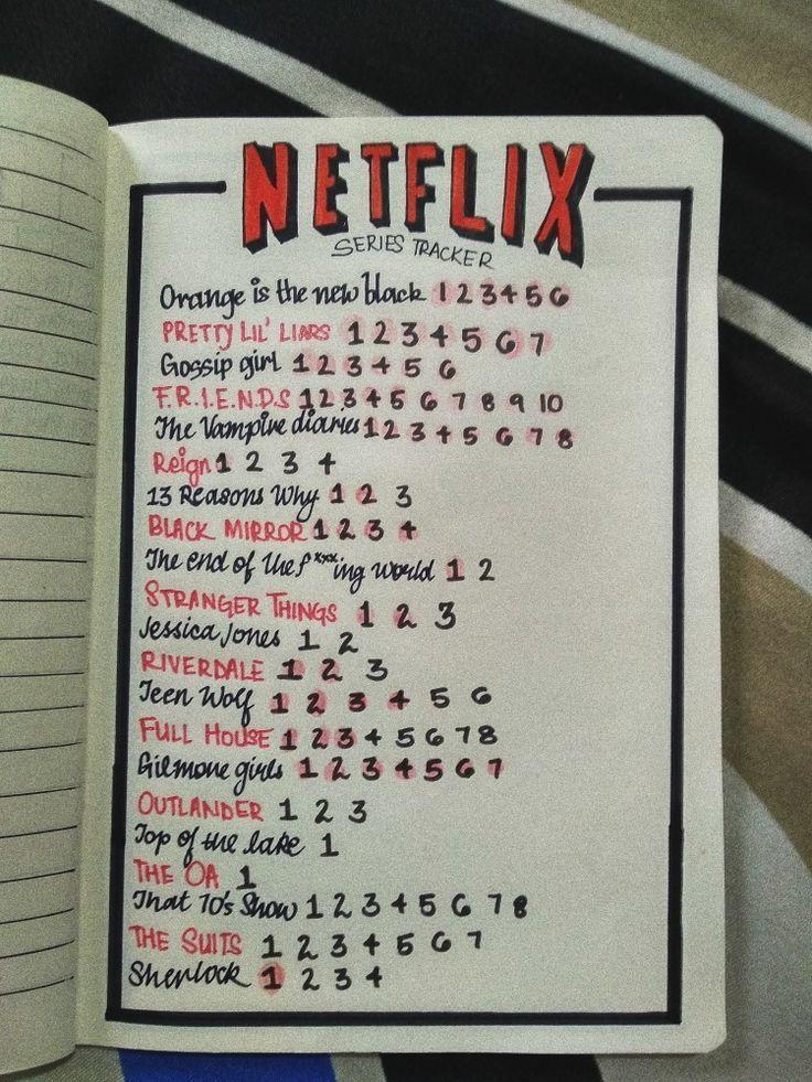 Netflix Series Tracker. Ideen für das Bullet Journal