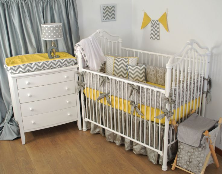 Grey and yellow gender neutral crib bedding with bright for Yellow nursery fabric
