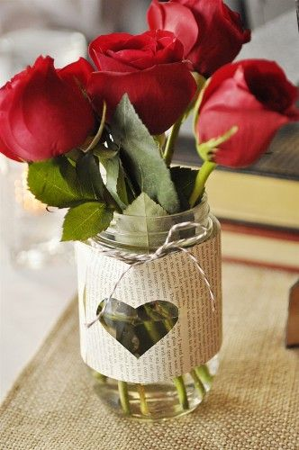 Literary Love Theme  - or, rather than cover whole jar with paper, do this instead then add flowers instead of candles?