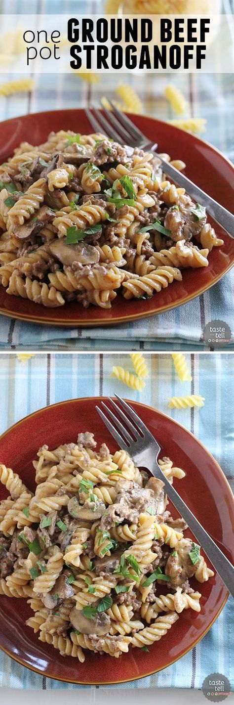 Comforting and humble, this One Pot Ground Beef Stroganoff is full of beefy flavor.  And there is only one pot to clean up after dinner!