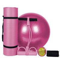 Wish | Yoga Mat Set 10mm Fitness Gym Yoga Ball Ballon Fitball Rope Skipping Pilates Ball Exercise Mat Yoga Set