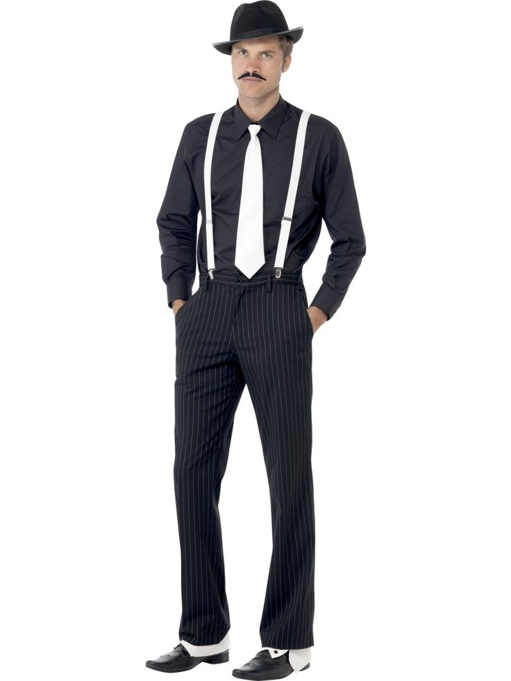 Gangsterin setti. Sisältää hatun, viikset, solmion, henkselit ja nilkkaimet.