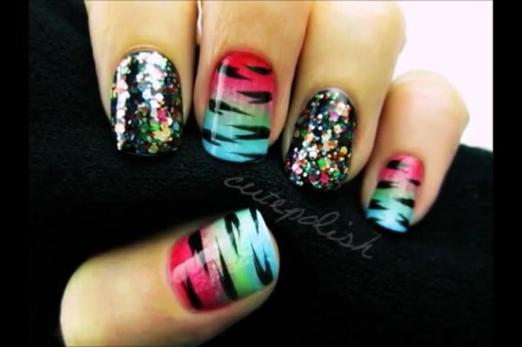 Zebra sparkly nails