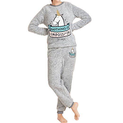 promo code be60e 1d7af GWELL Damen Schlafanzug Set Einhorn Motiv Flanell Pyjama ...