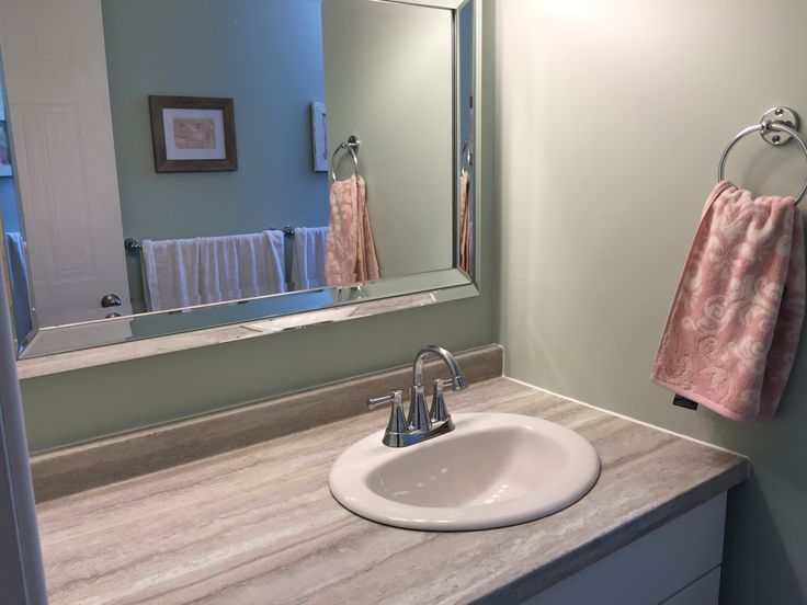 """Paint colour is SW """"frostwork"""" and I love it! Towel ring was from the old bathroom as well. Towels are from home sense."""