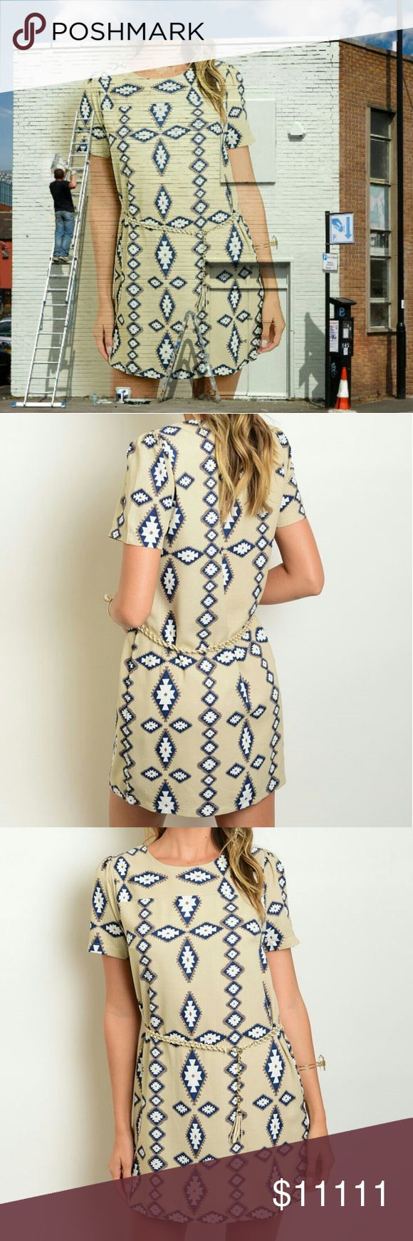 Tribal print dress Beautiful Short Sleeve Tribal Print Shift Dress, Featuring A Skinny Belt Accentuating The Waist And A Comfortable Fit That Can Be Worn Day Or Night. 100% polyester Tan, Blue, White  ✨S-bust laying flat is approx 16.5in and 31in from shoulder to bottom hem ✨M-bust laying flat is approx 17in and 32in from shoulder to bottom hem ✨L-bust laying flat is approx 18in and 33in from shoulder to bottom hem Dresses