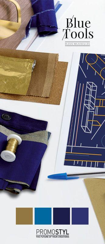 """AH17/18 - Indigo, bleu de chauffe et bleu Butagaz : un trio de bleus inusables, nets et précis à surligner d'un laiton chic-brossé. Cumul de qualités pour ces bleus denim et mode, passe-partout d'excellence, intenses, durables, désirables et didactiques … bref : indispensables ! - Promostyl - """"Bleus Majuscules"""" , Point fort couleur AH 2017/18 - Tendances (#704240)"""