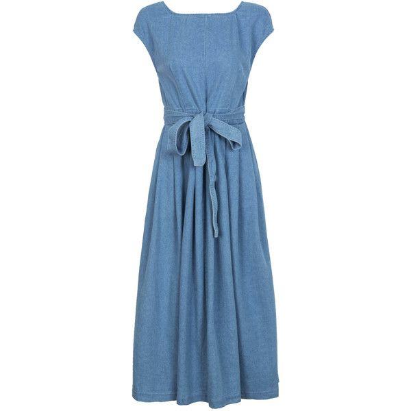 Blue Open Back Bowknot Waist Midi Denim Skater Dress ($42) ❤ liked on Polyvore featuring dresses, blue denim dress, skater dress, denim midi dress, stretch denim dress and denim skater dress
