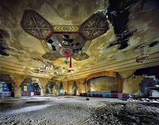 "The Vanity Ballroom (1024 Newport St., Detroit), was designed in 1929 by Charles N. Agree. The ballroom was a major venue for bands of the 1930s and 1940s. The Vanity billed itself as ""Detroit's most beautiful dance rendezvous"". The ballroom was closed in 1958, but reopened in 1964 for one night a week. It was eventually completely shuttered, and although it played a bit part in Eminem's movie, 8 Mile, it remains closed and dilapidated."