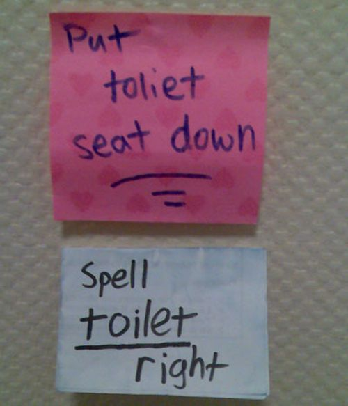 15 Best Roommate Notes Ever - Spell toilet