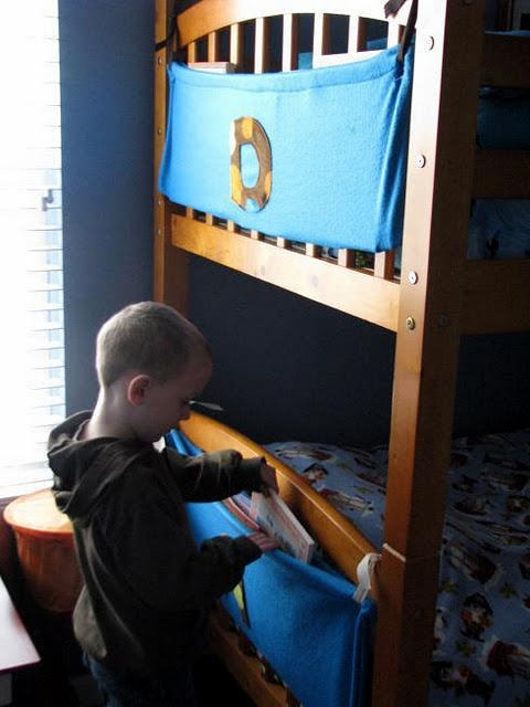 I totally could have used a bunk bed book caddy when I was a child!  Instead, all the books got shoved under the pillow, especially the ones from when I was supposed to be asleep but was really reading... :)
