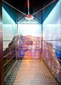 "The ""Cable Car"" elevator in the Fire & Ice Hotel in Cape Town"