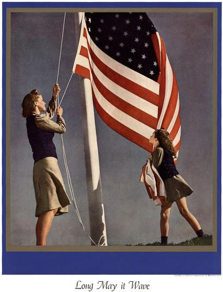 Long may it wave. A patriotic look at the American Flag during WWII from the National Association of Manufacturers. Circa 1945.