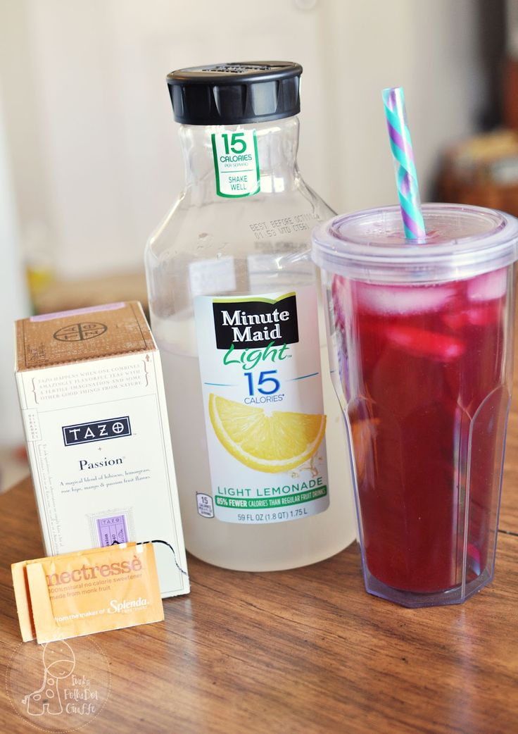 Copycat Recipe of Starbucks' iced passion fruit tea lemonade--Freakin delicious and LESS THAN 8 CALORIES a glass! I used 1 cup of the tea, 1/2 cup of the shown lemonade, 2 Stevia packets and crushed ice. This will be a summer habit.