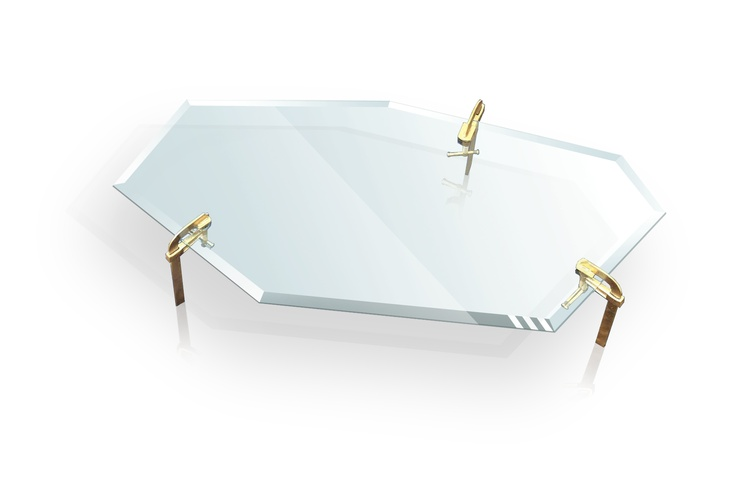 24K - JUST ONE PIECE - Tavolino in vetro, extra-white, trapezoidal, bisellato. Gambe in metallo verniciato oro  www.justonepiece.it
