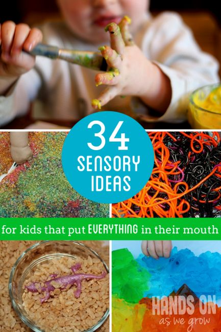 34 sensory play ideas for kids (especially babies and toddlers) that put everything in their mouth still.