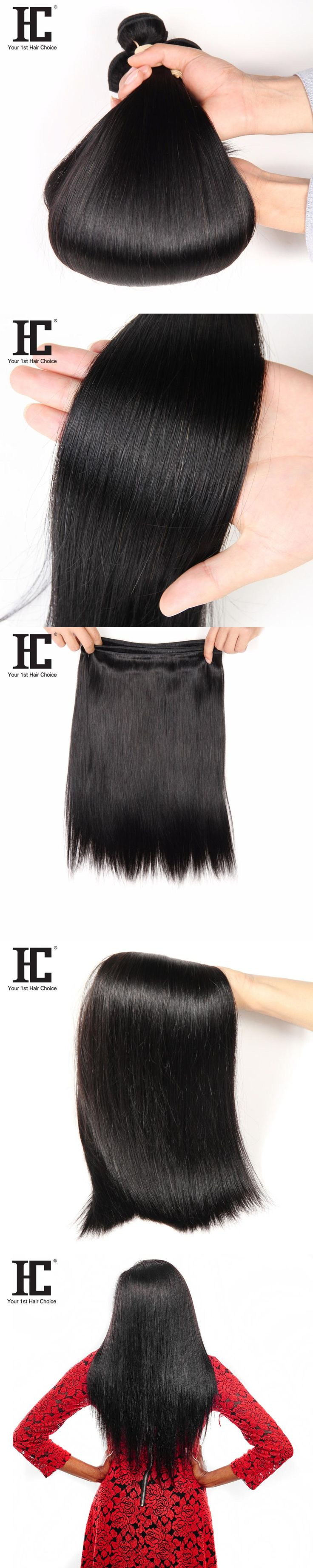 HC Remy Malaysian Hair 1 Bundle 100g Straight Human Hair Extension Natural Black Can Be Dyed and Bleached 10-28inch