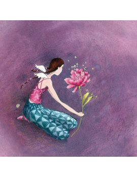 """Gaëlle Boissonnard carte postale carrée (14 cm) """"Elle et la fleur"""""""