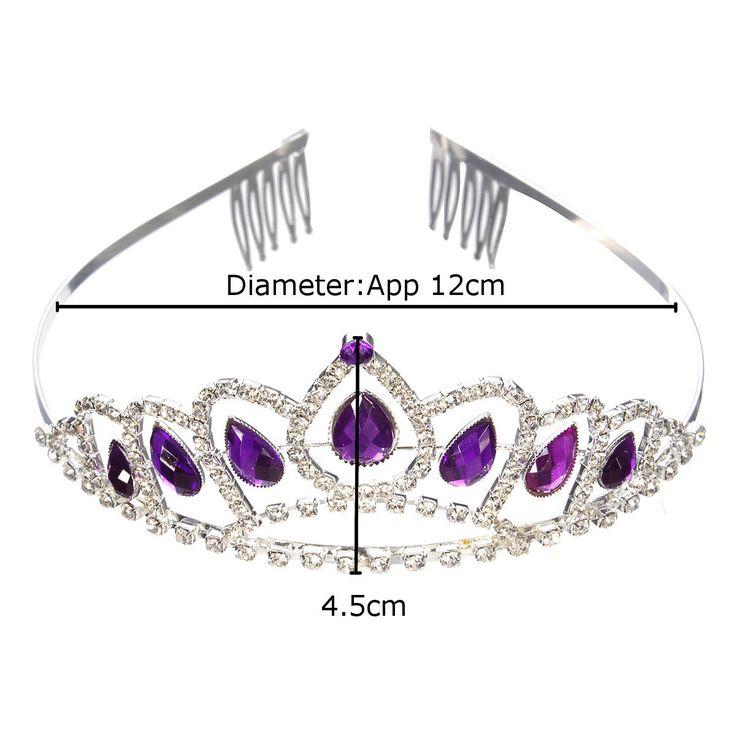 Bride Purple Diamond Crystal Rhinestone Crown King Queen Tiara Wedding Party Headpiece With Comb