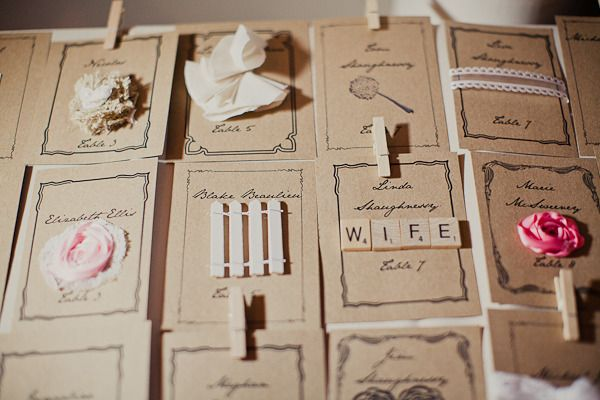 The detail and uniqueness of these escort cards is amazing!!