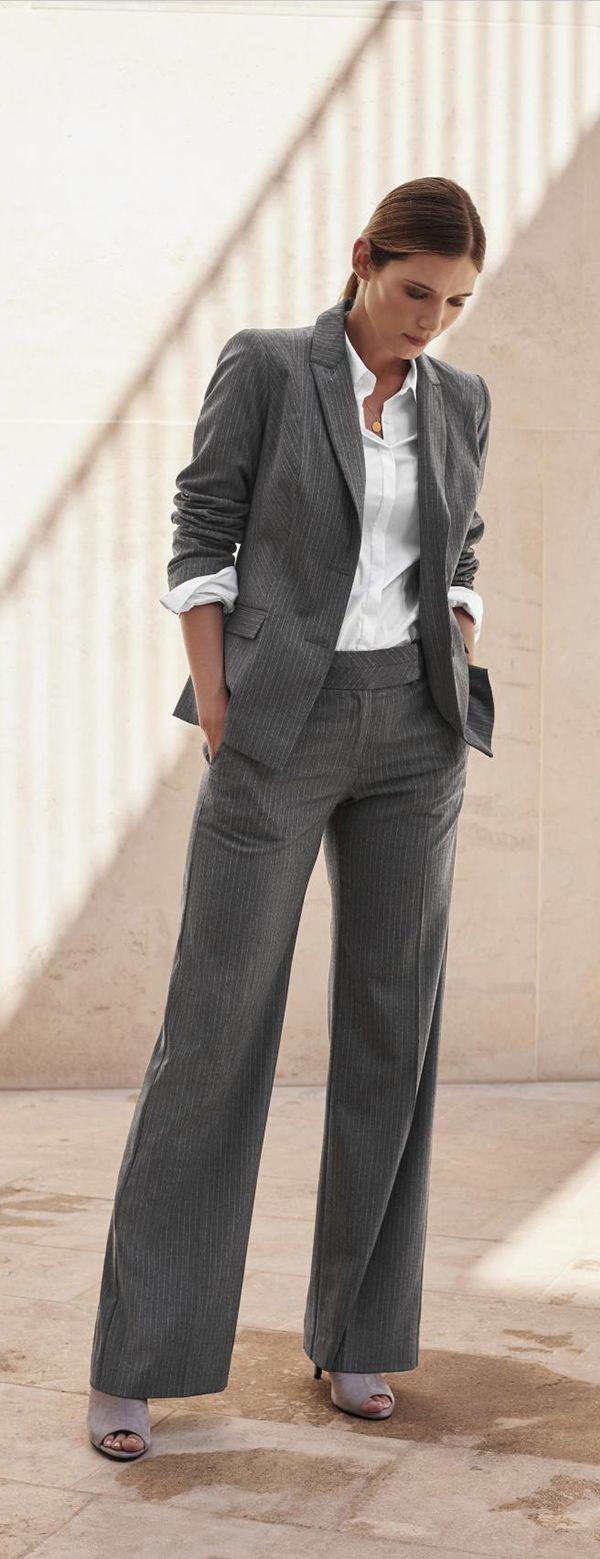 Grey pinstripe suit jacket