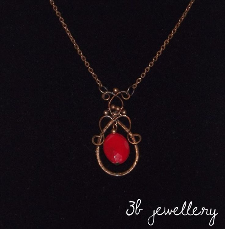 #bronze #necklace with bronze and #red #pendant #3bjewellery #wirewrapping #gettingbetter