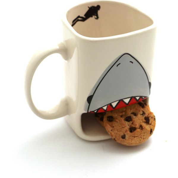 Shark Week Cookie Mug Shark Dunk Mug Live Every Week Like It's Shark... (£12) ❤ liked on Polyvore featuring home, kitchen & dining, drinkware, drink & barware, home & living, mugs, silver and handmade mugs