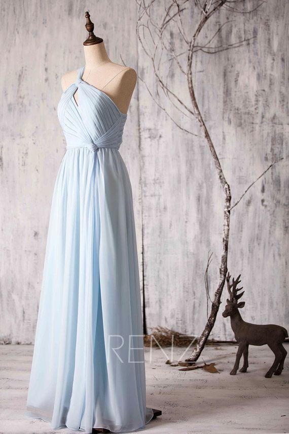 2015 Light Blue Bridesmaid dress Long One Shoulder by RenzRags