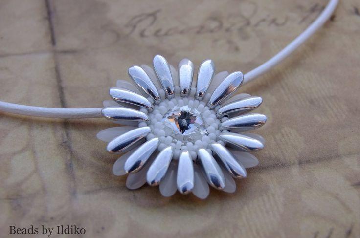 Silver&white opal flower pendant with swarovski rivoli