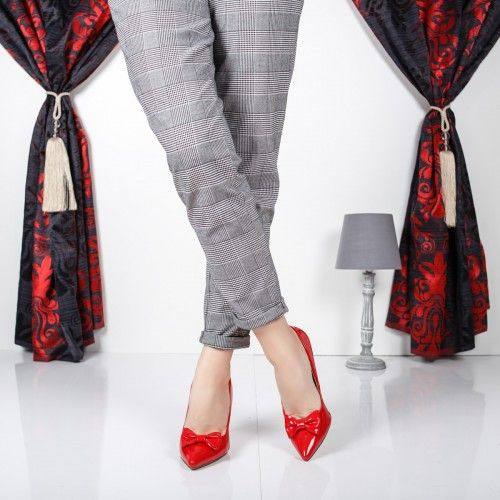 Pantofi dama Senni rosii cu fundita