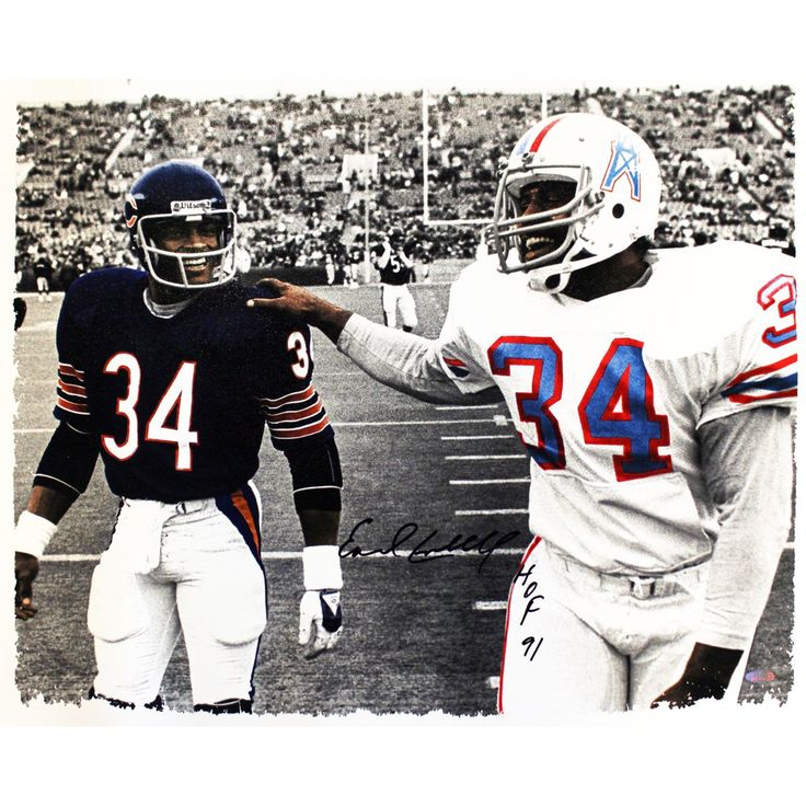 Steiner Earl Campbell Signed Walking With Walter Payton B/W w/ Color Accent 20x24 Canvas w/ HOF 91 Inscription