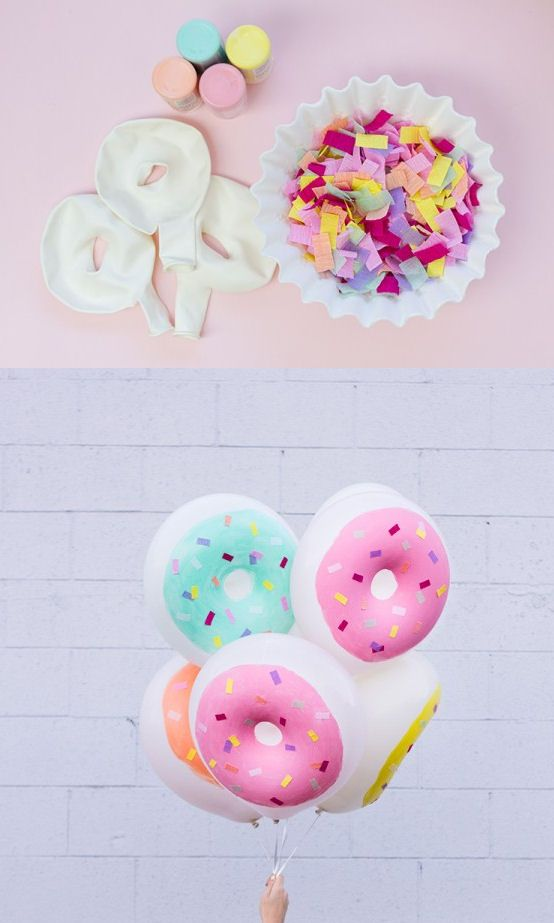 Donut balloons make with white balloon and paint it for decoration