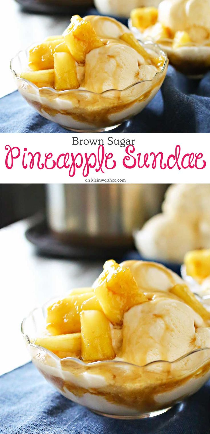 Brown Sugar Pineapple Sundae is a tropical dessert idea that's simple & quick to make. Pineapple coated in brown sugar glaze on top of ice cream, yum! It's the perfect refreshing frozen dessert idea.