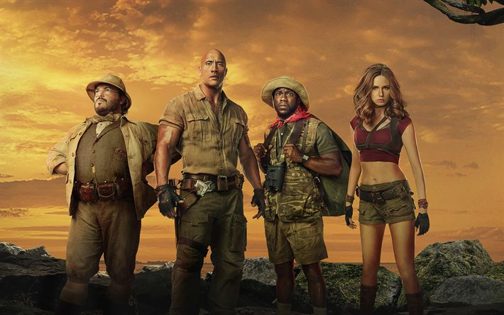 Download wallpapers 4k, Jumanji Welcome To The Jungle, poster, 2017 movie, action, Dwayne Johnson, Kevin Hart, Karen Gillan, Jack Black