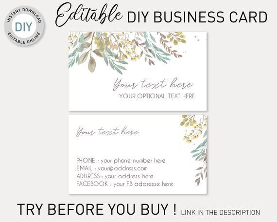 Busines Card Diy Template Editable Business Card Template Floral Business Card Brown Gold Watercolor Flowers Feminine Business Card As You Like
