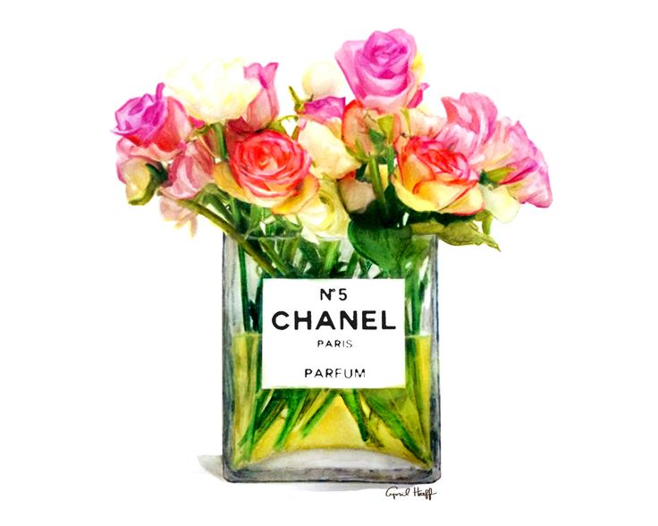 Chanel Roses Perfume Print Fashion Illustration by aprilmarionART