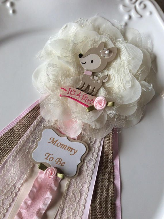 Deer Baby Shower Corsage Woodland Baby Shower Corsage Rustic