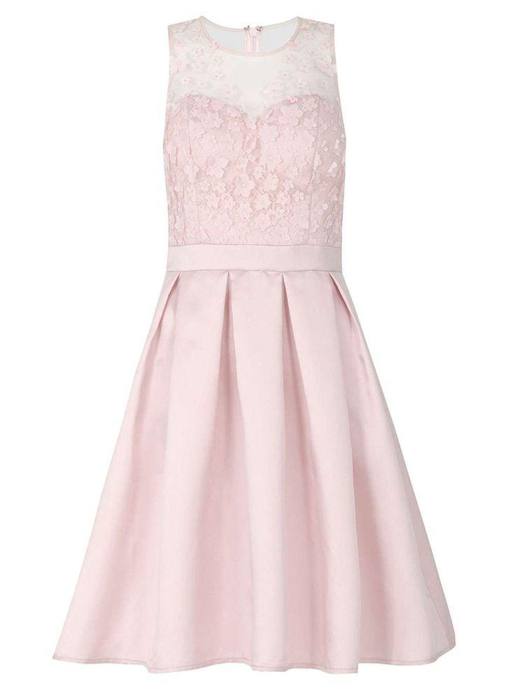 Womens *Quiz Pink Satin Pleat Prom Dress- Pink