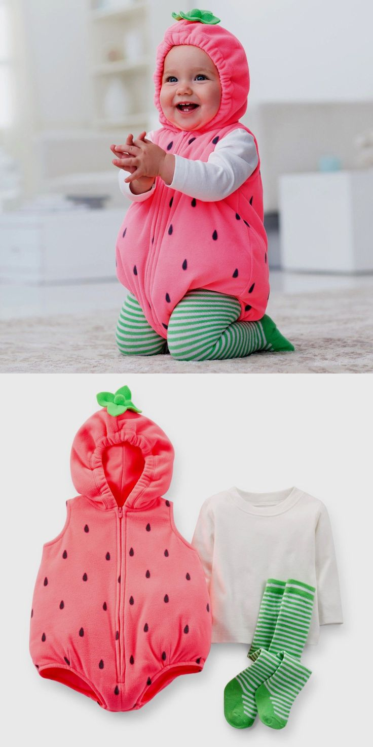 Kids Costumes: New Carters Baby Girl 3Pc Strawberry Plush Halloween Costume Fruit Outifit 18M BUY IT NOW ONLY: $34.99